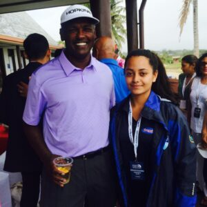 Vijay Singh with Keren Levestam at the Fiji International 2015